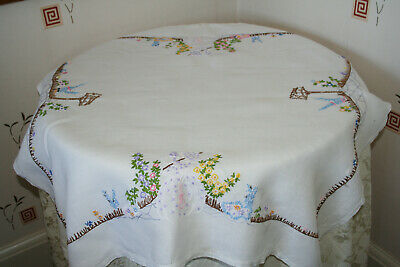 Beautifully Hand Embroidered Vintage Crinoline Lady Tablecloth.