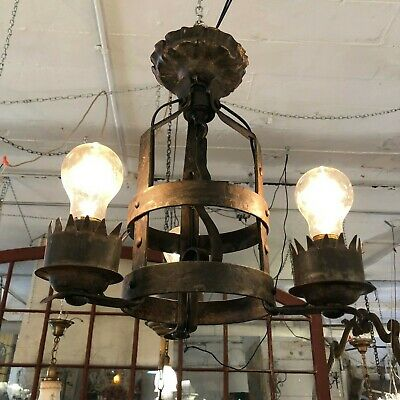 Rustic Arts & Crafts Three Light Wrought Iron Chandelier