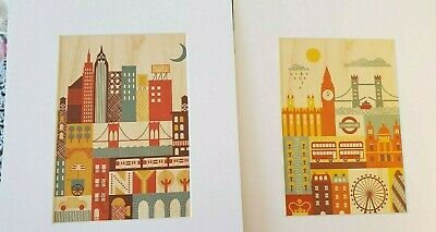 Set of 2 Retro Wood Look City Prints Matted London New York