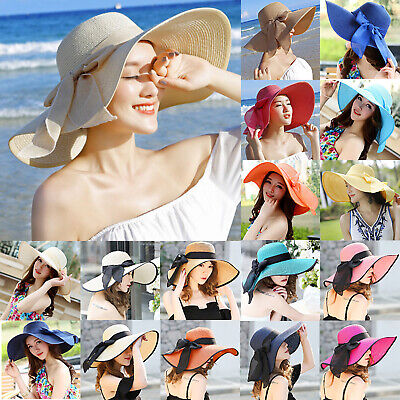 Women's Summer Beach Bow Straw Hat Wide Large Brim Sun Visor Floppy Foldable Cap