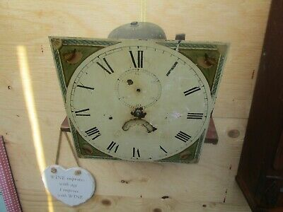 Hand Painted? Antique Grandfather Clock Face And Movement For Spares/Restoration