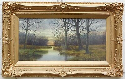 "Antique Neil Mitchill original watercolor painting ""The Brook, Evening"""