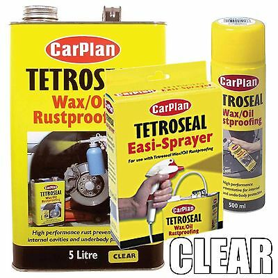 Carplan Wax/Oil Rustproof Protector CLEAR 5Ltr + Easi Spray Gun + 500ml Aerosol