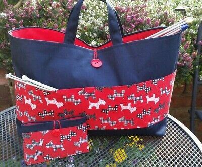 Knitting Bag, Large, Westies, Dogs, Red Lining, 3 Inner Pockets, FREE Sewing Kit