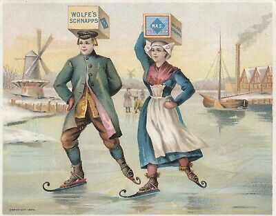 "Victorian Trade Card HOLLAND GIN WOLFE""S SCHNAPPS - COLUMBIAN EXPO. CIR: 1893"