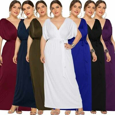 Womens V Neck Party Batwing Sleeve Loose Gown Dress Formal Dress Belt Plus Size