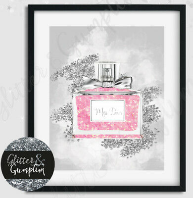 Fashion Art Iconic Perfume miss dior pink and silver beauty room art print