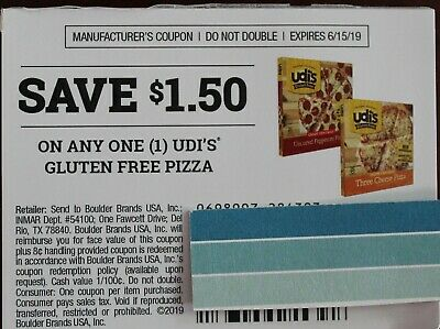 20 Coupons Save $1.50 on any (1) UDI'S Glutenfree Pizza  x 6/15/19