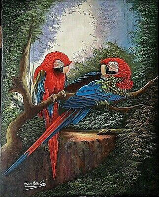 Parrots Birds Painting Signed By Listed Venezuelan Artist R.Molina On Both Sides