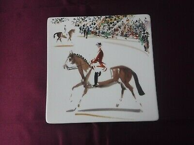 Gien Cavaliers Horse Riders Dressage Square Plate Mint in Box France Signed