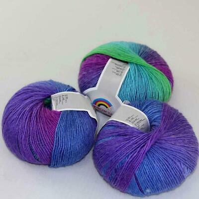 New 3Balls x50g Soft Warm Cashmere Wool Colorful Rainbow Shawl Hand Knit Yarn 09
