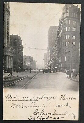 Vintage Postcard - Euclid Avenue, Looking West, Cleveland, Ohio, Postmarked 1906