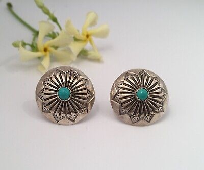 Vintage Signed LS Sterling Silver Native American Turquoise Concho Stud Earrings