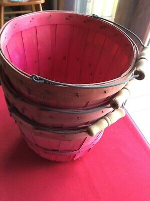 Vintage Old Farm Apple Picking Basket with metal and wood handle Red 3 Baskets#3