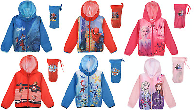 Kids Boys Paw Patrol and Spiderman Lightweight Showerproof Jackets 3 to 8 yrs