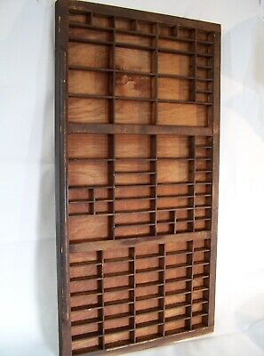 Antique Wood Wooden Printer's Type Set Tray Drawer Shadow Box Wall CLEAN & READY