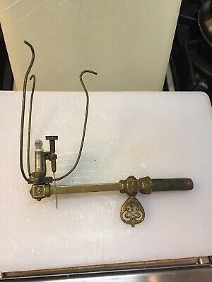 Vintage Gas Brass Wall Sconce With Crescent Burner