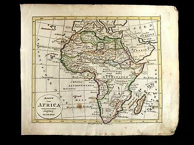 COLORED HISTORIC MAP OF AFRICA from 1700s