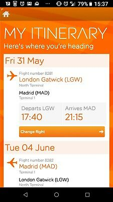 Champions League 2019 final FLIGHT TICKETS - Gatwick to Madrid   Return -