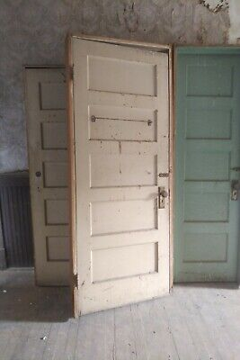 Antique interior 5 panel solid wood doors, in jamb, all molding, both sides
