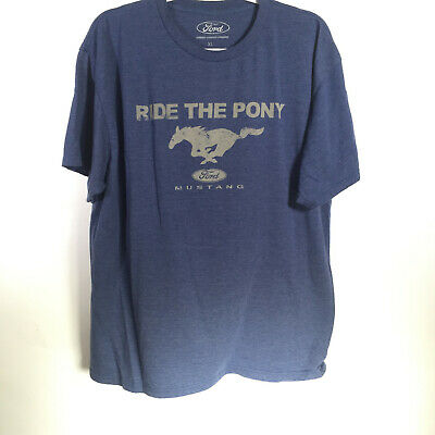 Vintage Blue Ford Mustang Tri-Bar Pony Running Horse T-Shirt Mens XL Extra Large