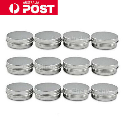 Aluminium Empty Cosmetic Pot Lip Balm Jar Tin Container Silver Box Containers OZ