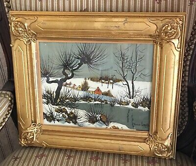 Maurice Lemaitre Oil Painting French Countryside Winter Snow Scene Landscape