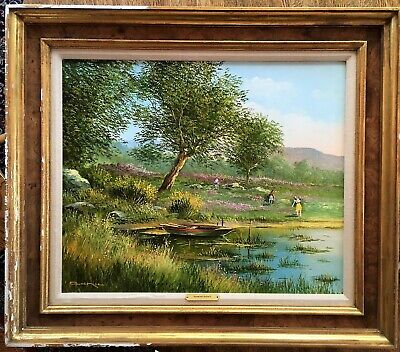 Raymond Quence Original Oil Signed on Canvas Painting Seascape Beach with Boats