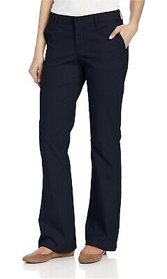 b1cabbe1246 Dickies Women's Flat Front Stretch Twill Pant Slim Fit Bootcut 4 Short