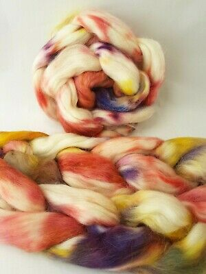 Hand Gefärbt Baby Alpaka Roving, Wolle, Top 100 G, Peachy Bloom