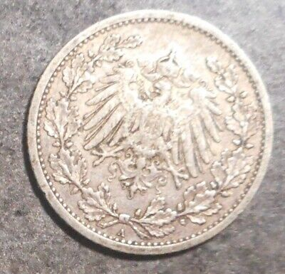 Germany   1911 A    Silver 1/2 mark Coin Better  Grade Nice