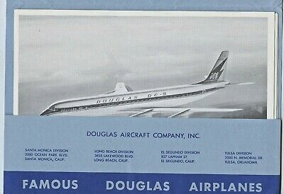 "1950'S Aviation ""Famous Douglas Airplanes"" Folder Envelope Santa Monica Usa A84"