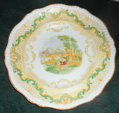 """Large Vintage 1930s Copeland Spode Yellow Transferware Plate """"Continental Views"""""""