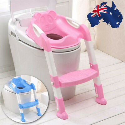 Kids Toilet Training Seat Ladder Baby Toddler Cute Potty Chair Non Slip Trainer