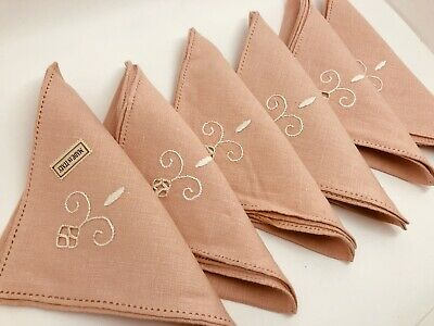 "VTG Luncheon Napkins Linen Pink w/ White Embroidery 12"" Set of 6 Italy (RF957)"