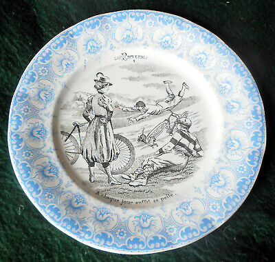 Rare Early 1900s 2 Color Transferware Proverbes Plate w/ Bikes ~ Saint Amand  ~D