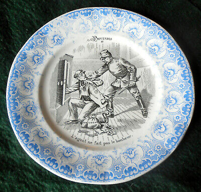Early 1900s 2 Color Transferware Proverbes Plate by Saint Amand Et Hamage ~ E