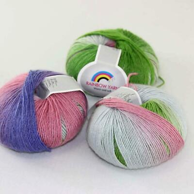 New 3Balls x50g Soft Warm Cashmere Wool Colorful Rainbow Shawl Hand Knit Yarn 07