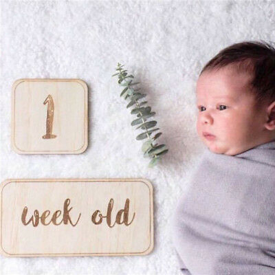 Creative Newborn Birthday Milestone Wood Card Record & Photograph Decor SO