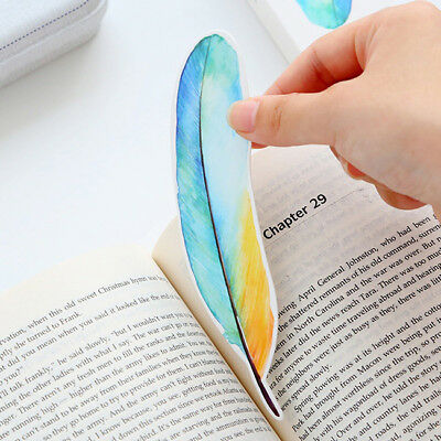 30Pcs Feathers Paper Bookmark Cartoon Dessert Message Card DIY Stationery Gift S
