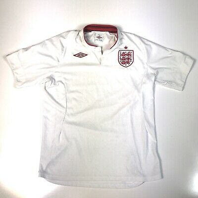 size 40 7613d 74d22 UMBRO ENGLAND NATIONAL Team White Soccer Jersey Adult Size 42 L