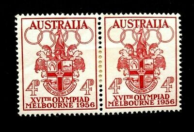 1956 AUSTRALIA XVIth OLYMPIAD MELBOURNE 4d PENNY PAIR of 2x MINT hinged STAMPS