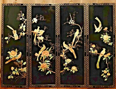 Set of 4 Vintage Japanese Black Lacquer Mother of Pearl Asian Wall Art Panels
