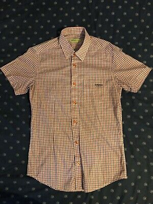 bc81eb10 Versace Jeans Buttoned Checkered Shirt VJ Logo Front Pocket Italy Size  48/Medium