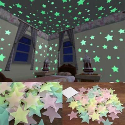 Home Wall Glow In The Dark Stickers Baby Kids Nursery Room Decoration SO