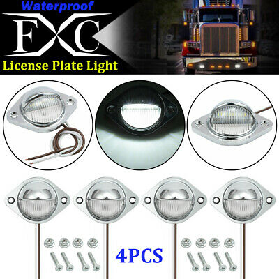4 x 3LED License Licence Number Plate Light Lamp Lorry Truck Van Trailer Chrome
