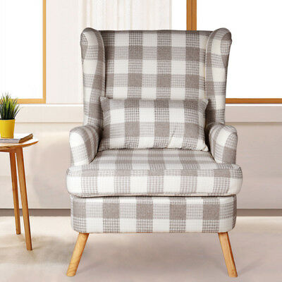 COFFEE WINGED SIDE Back Accent Armchairs Living Room ...