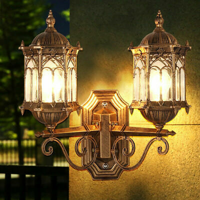 Brass French Provincial Clear Glass Metal Lantern Exterior Wall Lights Fixture
