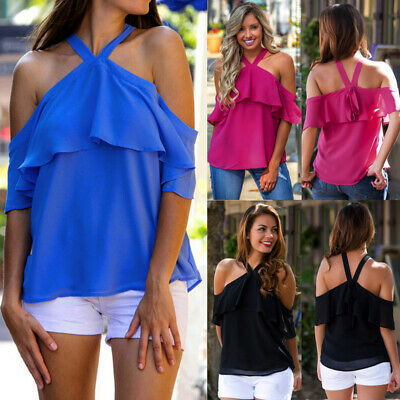 Ladies Off Shoulder Ruffle Sleeves Solid Color Casual Tops Blouse Halter  C
