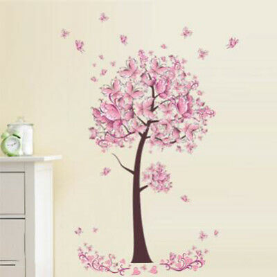 Pink Flower Butterfly tree Living Room Wall Sticker Decal Art Bedroom Decor SO